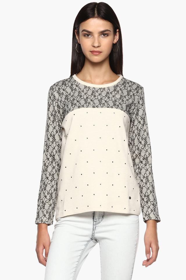Womens Round Neck Lace Sweatshirt