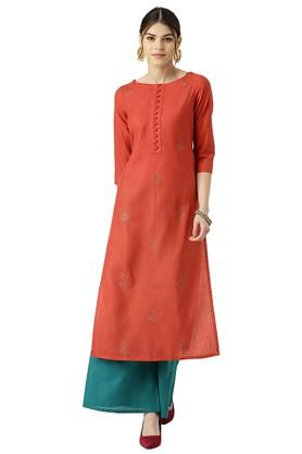LIBAS Womens Block Print Straight Kurta With Palazzo Pants