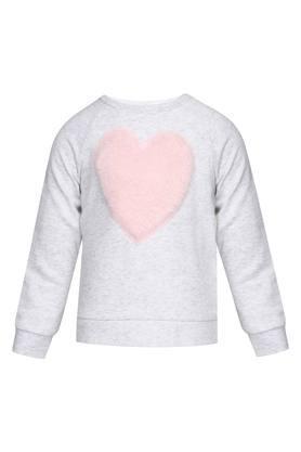 Girls Round Neck Applique Sweater