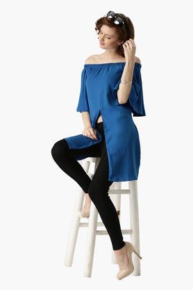 Womens Off Shoulder Solid Bardot Top