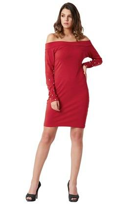 Womens Off Shoulder Neck Solid Bardot Style Bodycon Dress