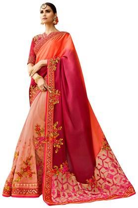 VRITIKAWomens Soft Net Silk Heavy-Embroidered Saree