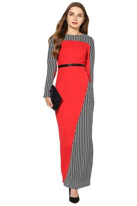 Womens Round Neck Houndstooth Maxi Dress