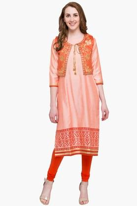 IMARA Womens Round Neck Assorted Kurta, Churidar And Koti Set