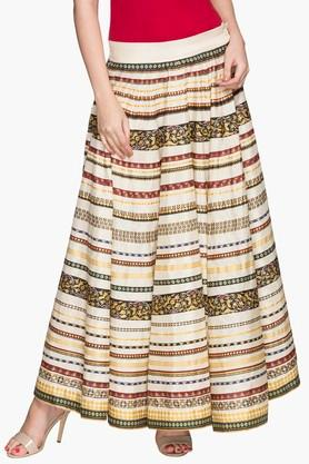 W Womens Stripe Long Skirt