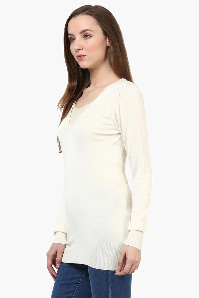 Womens Full Sleeves Solid Sweater