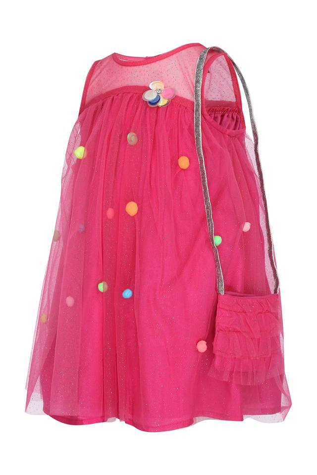 Girls Round Neck Solid Embellished Layered Dress with Sling Bag