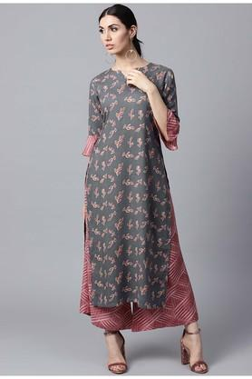 GERUA Women Rayon Printed Straight Kurta With Rayon Printed Palazzo - 204545759_9204