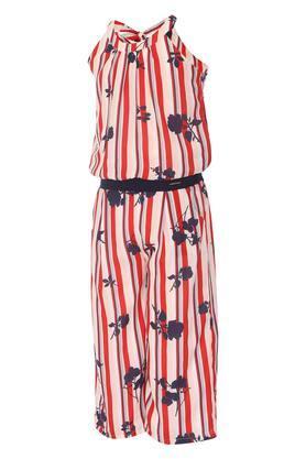 Girls Round Neck Striped Jumpsuit