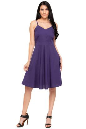 Womens Strappy Neck Solid Skater Dress