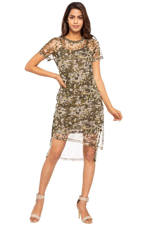 Womens Round Neck Printed High Low Dress
