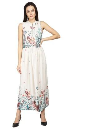 Womens Mandarin Neck Printed Maxi Dress