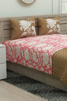 PORTICOCotton Floral Print Bedsheet With 2 Pillow Covers