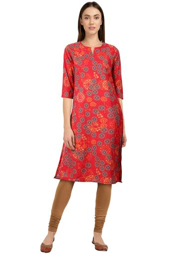 Womens Notched Collar Floral Print Kurta