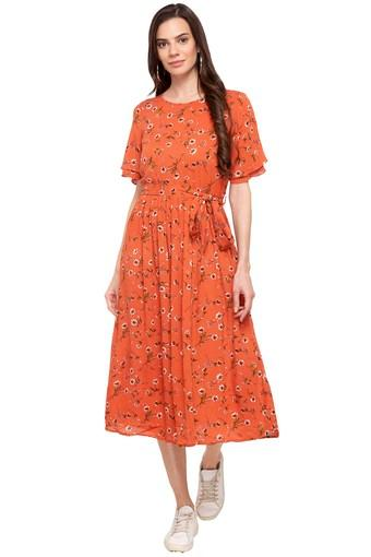 Womens Round Neck Printed Midi Dress