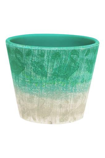 Round Colour Block Textured Planter