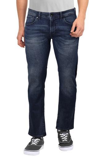 Mens Skinny Fit 5 Pocket Whiskered Effect Jeans