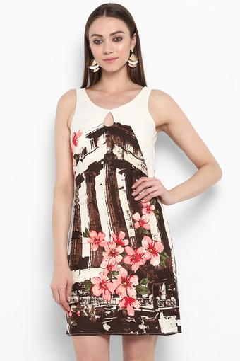 Womens Key Hole Neck Printed Shift Dress