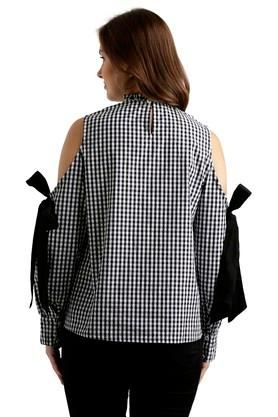 Womens Ruffled Collar Check Top