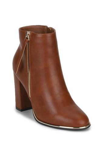 Womens Zip Closure Heeled Ankle Boots