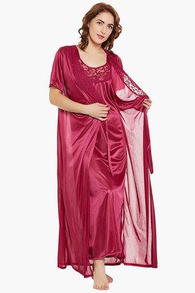 Womens V- Neck Solid Night Dress and Solid robe Set