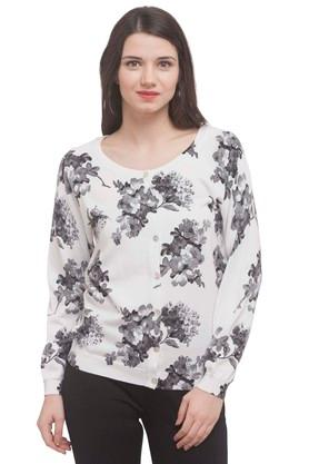 U.S. POLO ASSN. Womens Round Neck Printed Sweater
