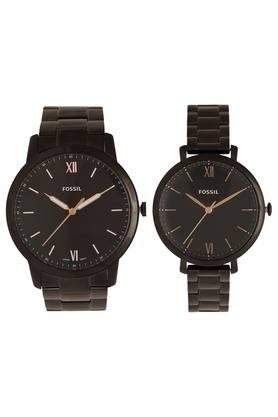 Black Dial Metallic Analogue Couple Watch - FS5514SET