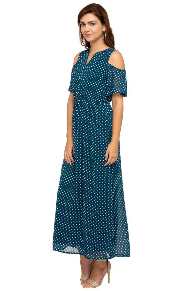 Womens Notched Neck Dot Pattern Maxi Dress