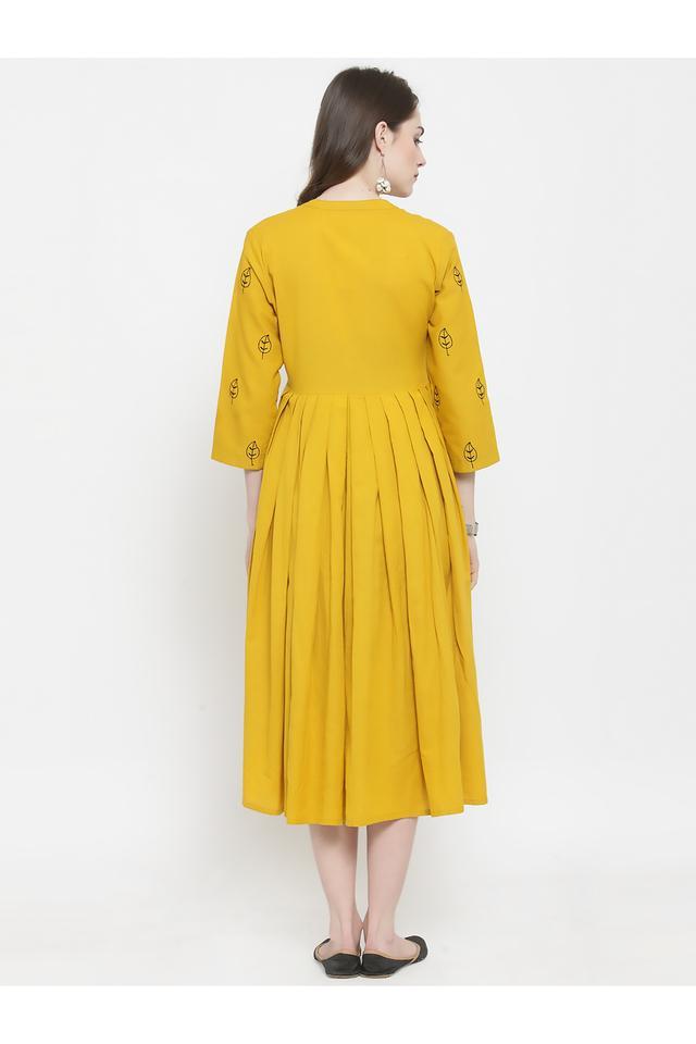Womens Mandarin Collar Solid Embroidered Midi Dress