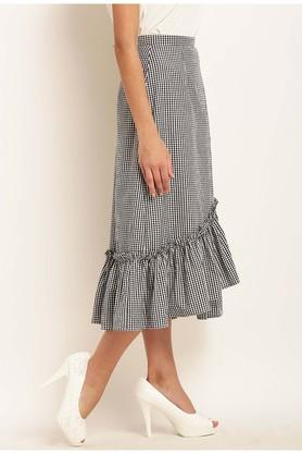 Womens Checked Asymmetrical Skirt