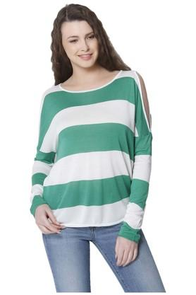 ONLY Womens Round Neck Stripe Pullover