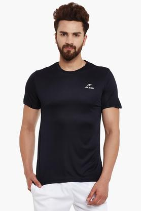 ALCIS Mens Slim Fit Round Neck Solid T-Shirt - 203098772