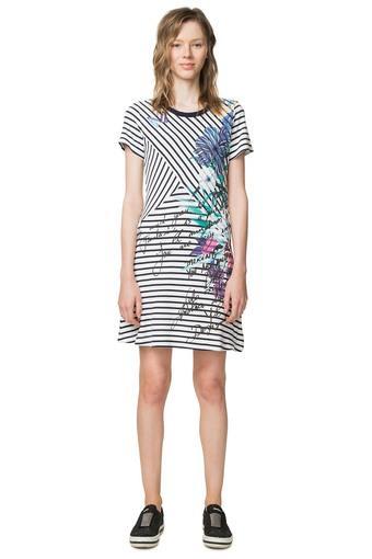 Womens Round Neck Striped Shift Dress