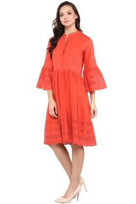 Womens Mandarin Collar Perforated Flared Dress