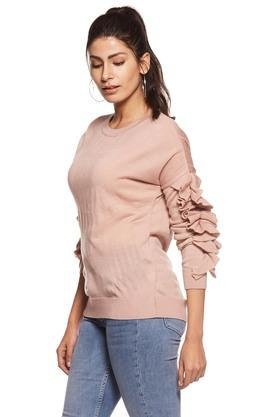Womens Round Neck Slub Ruffle Top