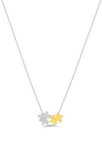 Womens Puzzle Pieces Chain Necklace