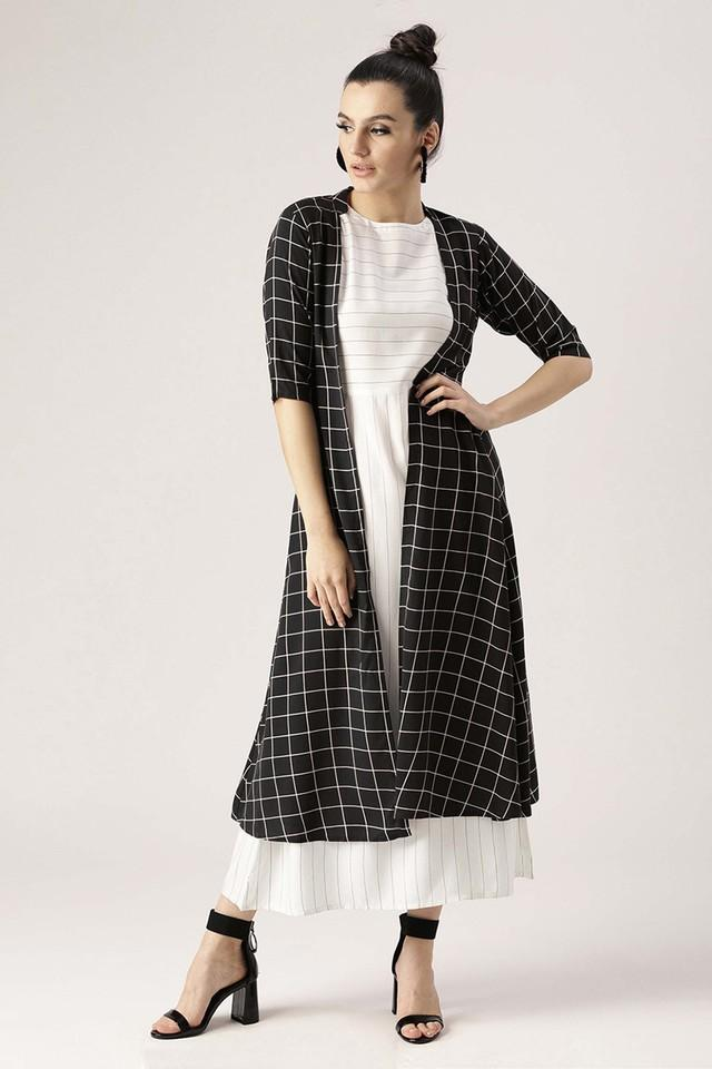 Womens Round Neck Striped A-Line Dress With Checked Shrug