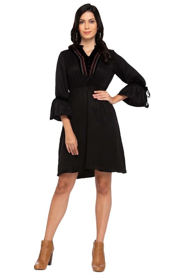 Womens Mandarin Neck Solid Knee Length Dress