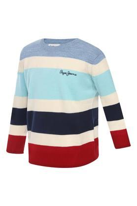 Boys Round Neck Stripe Sweater