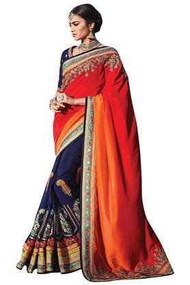 DEMARCAWomens Pure Dhupion Silk Designer Saree