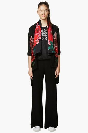 Womens Printed Casual Flat Knitted Thin Jacket