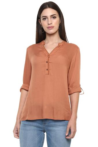 Womens Mandarin Collar Solid Tunic