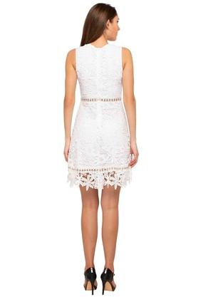 Womens Round Neck Lace Knee Length Dress