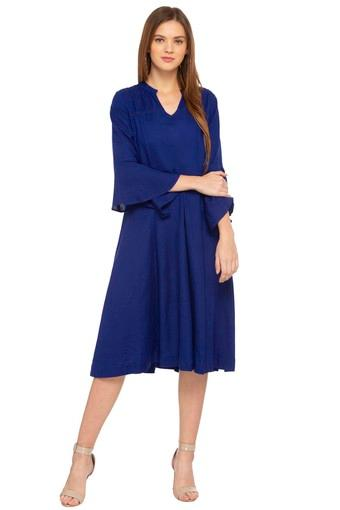 Womens Mandarin Collar Solid Flared Dress