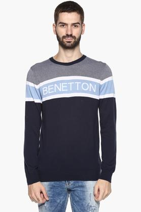 UNITED COLORS OF BENETTON Mens Round Neck Colour Block Sweater
