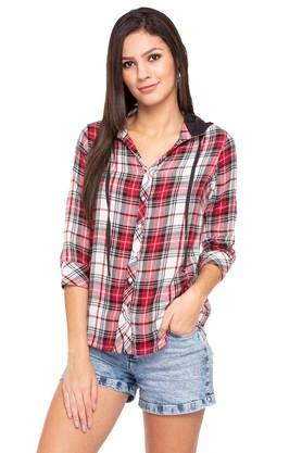 Womens Hooded Check Shirt
