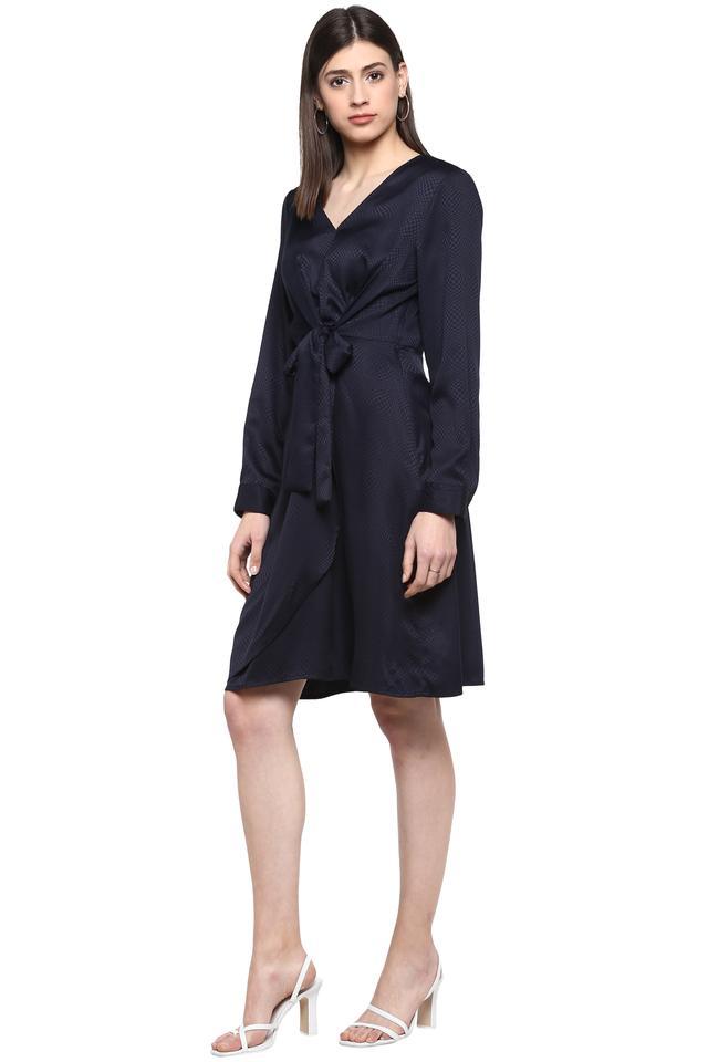 Womens V Neck Solid Wrap Dress