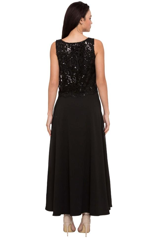 Womens Round Neck Sequins Maxi Dress