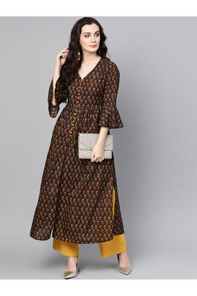 Womens V Neck Printed Kurta