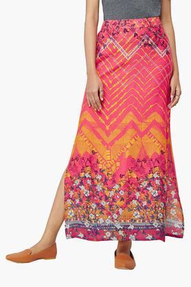 GLOBAL DESIWomens Geometric Floral Printed Maxi Skirt